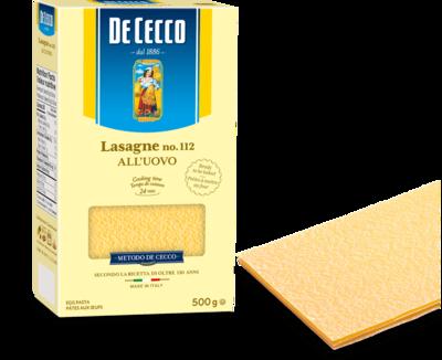 500g DE CECCO LASAGNE ALL'UOVO NO.112