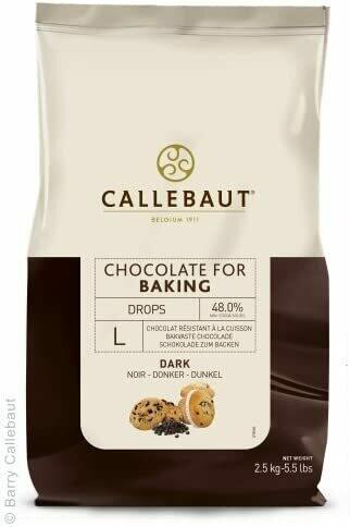 CALLEBAUT BELGIAN DARK CHOCOLATE DROPS FOR BAKING - 2.5kg