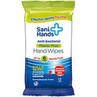 ANTIBACTERIAL HAND WIPES - Sani Hands 12 tissue pack
