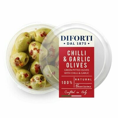 CHILLI & GARLIC PITTED OLIVES - 180gr