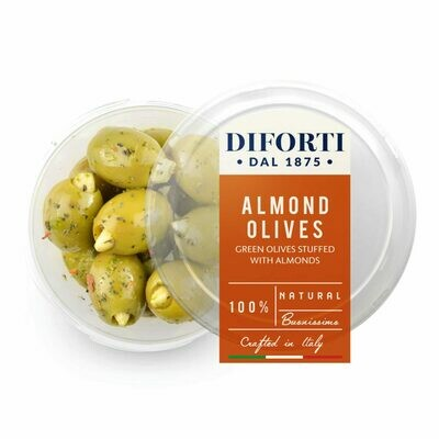 PITTED GREEN OLIVES STUFFED WITH ALMONDS - 180gr