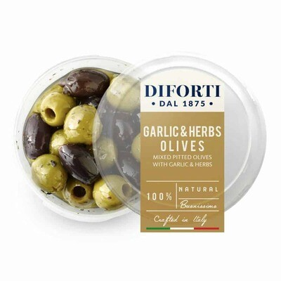 GARLIC & HERBS MIXED PITTED OLIVES - 180gr