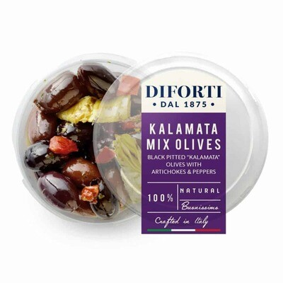PITTED KALAMATA OLIVES WITH ARTICHOKES AND PEPPERS - 180gr