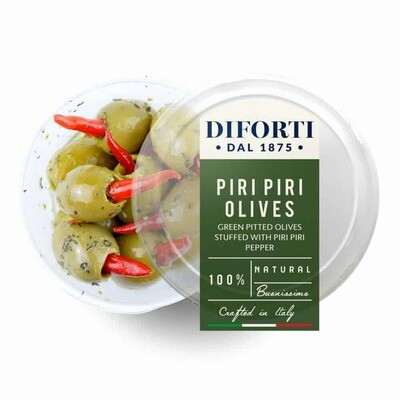 PITTED GREEN OLIVES STUFFED WITH PIRI PIRI PEPPERS - 180gr