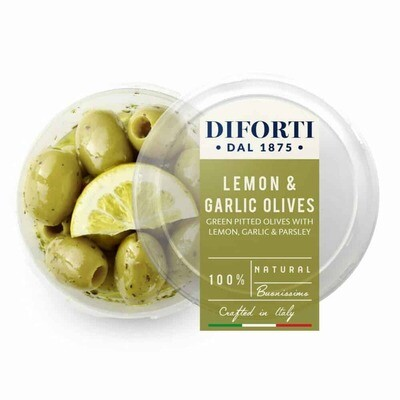 LEMON, GARLIC & PARSLEY PITTED GREEN OLIVES - 180gr