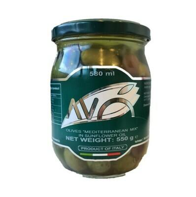 MEDITERRANEAN MIX OLIVES IN SUNFLOWER OIL JAR - 550gr
