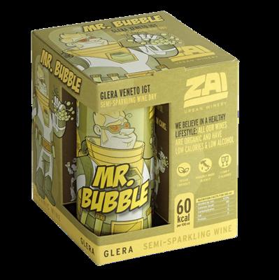 "ORGANIC & VEGAN SEMI SPARKLING WINE CANS ""MR BUBBLE"" GLERA VENETO IGT ABV 9.5% - 4X250ml"