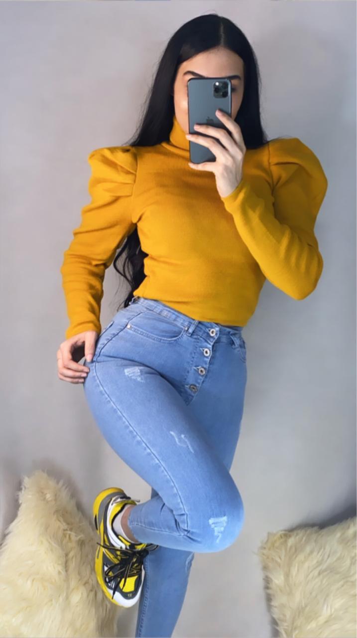 بلوز اصفر + جينز