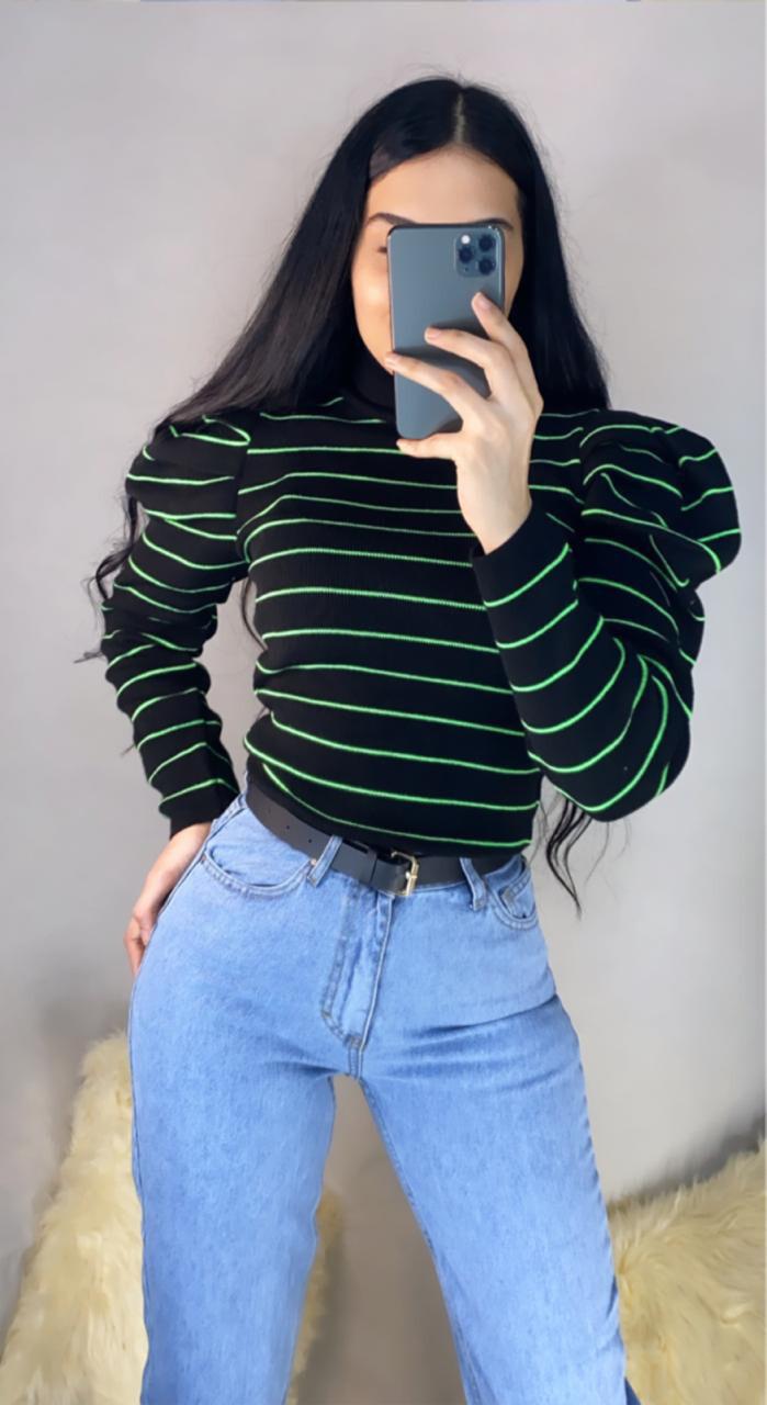 بلوز مخطط اخضر + جينز
