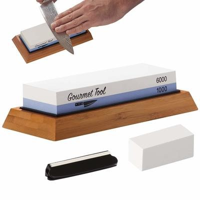 6000/1000 Dual Grit Whetstone - Comes with Bamboo base, Rubber Base,  Angle Guide, Flattening stone