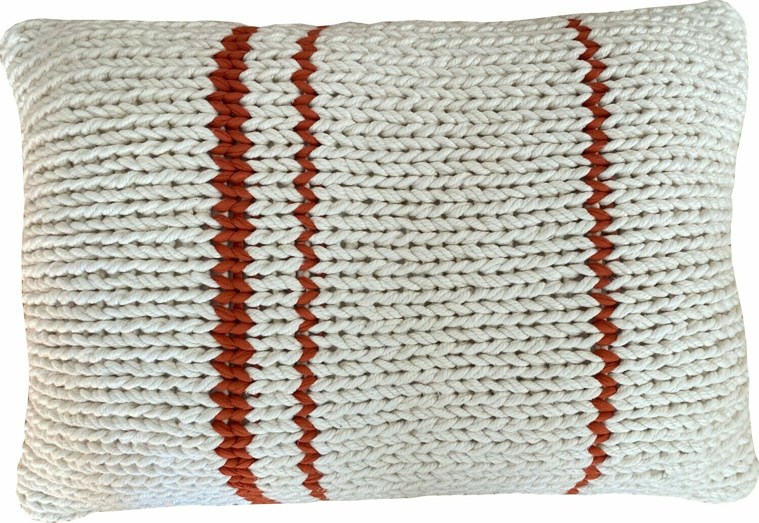 Naturals - Chunky Knitted Cushion with Rust Stripe