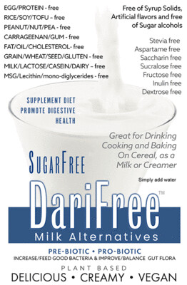DFSF - SugarFree DariFree Milk Alternative -  (4 pack) (4-6 cups ea.) - ANTI-Viral -BOOST IMMUNE SYSTEM- Anti-inflammatory - Antioxidant - Sugar-Free Dairy-free  Milk Alternative VEGAN