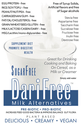 (CASE) DFSF - SugarFree DariFree Milk Alternative -  (8 pack) (4-6 cups ea.) - ANTI-Viral -BOOST IMMUNE SYSTEM- Anti-inflammatory - Antioxidant - Sugar-Free Dairy-free  Milk Alternative VEGAN