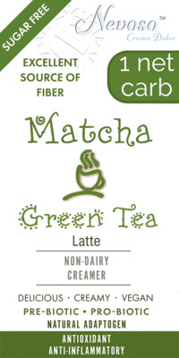 Matcha Green Tea Latte NEVOSO 1 Net Carb ANTI-Viral -BOOST IMMUNE SYSTEM-  Anti-inflammatory - Antioxidant - NON-Dairy Creamer - Sugar Free - DariFree - Smooth and Creamy VEGAN KETO
