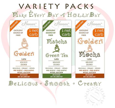 Variety Pack (4ea)  >Only 1 net carb< Matcha Green Tea  Golden Mochca and Golden Latte mixes    ANTI-Viral -BOOST IMMUNE SYSTEM-  Anti-inflammatory - Antioxidant - Sugar-Free  DariFree VEGAN KETO