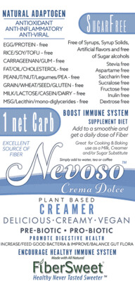 Crema Dolce (12pack)(4-6 cups milk ea) -NEVOSO 1 Net Carb ANTI-Viral -BOOST IMMUNE SYSTEM-  Anti-inflammatory - Antioxidant - NON-Dairy Creamer - Sugar Free - DariFree -Smooth Creamy VEGAN KETO