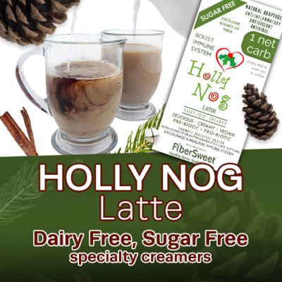 Holly Nog  Latte - 4Pack (makes 2 cups ea.) 1 Net Carb  Dairy-Free Sugar-Free Holiday Spice Creamer ANTI-Viral -BOOST IMMUNE SYSTEM- Anti-inflammatory Antioxidant - Egg Nog Recipes VEGAN KETO