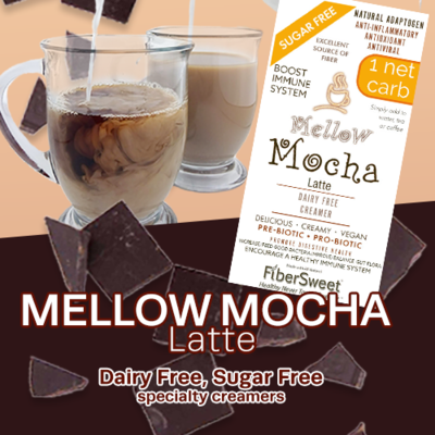 (CASE) Mellow Mocha Latte - 24Pack (makes 2 cups ea.) 1 Net Carb Sugar-Free Dairy-Free Chocolate Creamer - ANTI-Viral -BOOST IMMUNE SYSTEM- Anti-inflammatory - Antioxidant - Smooth Creamy VEGAN KETO
