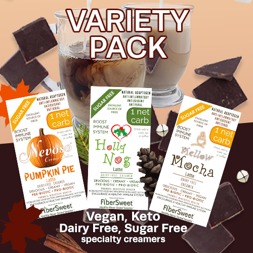 Variety Pack (4ea) >Only 1 net carb<  Pumpkin Pie Latte | Mellow Mocha Latte | Holly Nog Latte |    ANTI-Viral -BOOST IMMUNE SYSTEM-  Anti-inflammatory  Antioxidant - Sugar-Free  Dairy-Free VEGAN KETO