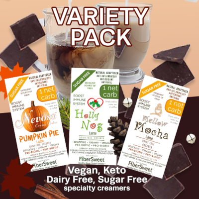 (CASE) Variety Pack (4ea) 1 NET CARB | Pumpkin Pie Latte | Mellow Mocha Latte | Holly Nog Latte | AntiViral BOOST IMMUNE SYSTEM Anti-inflammatory  Antioxidant SugarFree DairyFree GFCF VEGAN KETO
