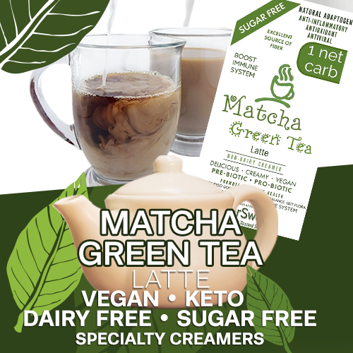 Matcha Green Tea Latte / Creamer / Drink Enhancer | 5g Fiber | 1 Net Carb -Immune Support- Anti-inflammatory Antioxidant AntiViral SugarFree DairyFree GFCF VEGAN KETO