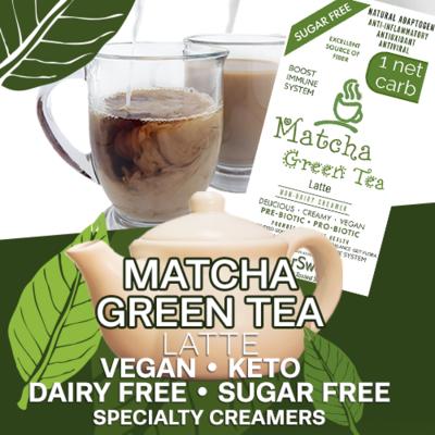 Matcha Green Tea Latte / Creamer / Drink Enhancer | 5g Fiber | 1 Net Carb -Immune Support- Anti-inflammatory Antioxidant AntiViral SugarFree DairyFree GFCF VEGAN KETO
