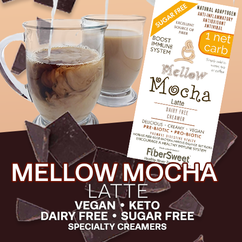 Mellow Mocha Latte / Chocolate Creamer | Delicious Hot or Cold | 1 Net Carb | AntiViral -Immune Support- Anti-inflammatory Antioxidant SugarFree DairyFree GFCF VEGAN KETO