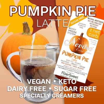 (CASE) Pumpkin Pie Latte - 24Pack (makes 2 cups ea.) 1 Net Carb Sugar-Free Dairy-Free Pumpkin Spice Creamer ANTI-Viral -BOOST IMMUNE SYSTEM-  Anti-inflammatory - Antioxidant - Smooth Creamy VEGAN KETO