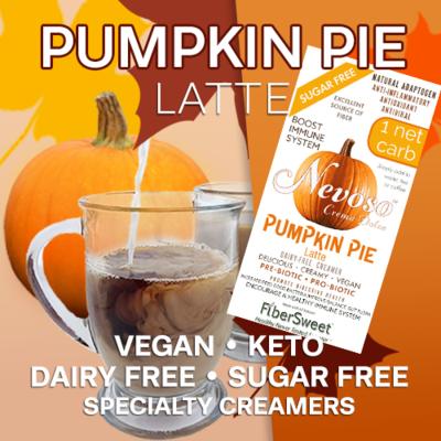 Pumpkin Pie  Latte - Pumpkin Spice Creamer | Add Fall Flavor to Drinks/Recipes | 6g Fiber | 1 Net Carb | -Immune Support-  Anti-inflammatory AntiViral Antioxidant SugarFree DairyFree GFCF VEGAN KETO