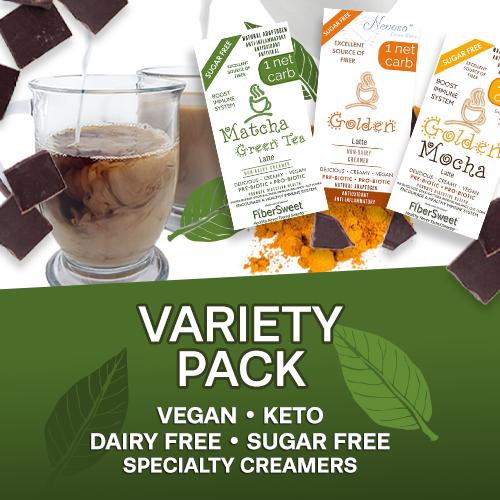 (CASE) Variety Pack (4ea) 1 NET CARB   Matcha Green Tea Latte   Golden Mocha Latte   Golden Latte   BOOST IMMUNE SYSTEM AntiViral Anti-inflammatory Antioxidant SugarFree DairyFree GFCF VEGAN KETO