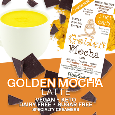 (CASE) Golden Mocha  Latte -  12Pack (makes 2 cups ea.) 1 Net Carb ANTI-Viral -BOOST IMMUNE SYSTEM- Anti-inflammatory - Antioxidant - Sugar-Free Dairy-Free Smooth and Creamy VEGAN KETO