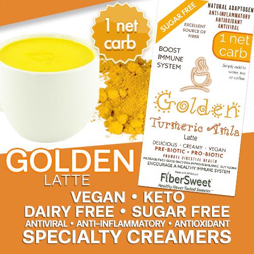 Golden Latte - Turmeric Amla Creamer | add to water tea coffee | 5g Fiber | 1 NET CARB | -Immune Support- Anti-inflammatory AntiViral Antioxidant DairyFree SugarFree GFCF VEGAN KETO
