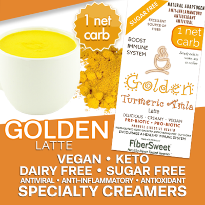 -- Golden Latte -- Turmeric Amla Latte 4Pack (makes 2 cups ea.) 1 Net Carb ANTI-Viral -BOOST IMMUNE SYSTEM- Anti-inflammatory - Antioxidant - Sugar-Free Dairy-Free Smooth and Creamy VEGAN KETO