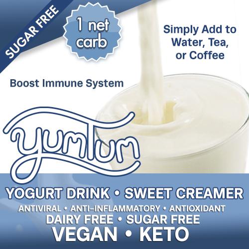 (BULK)YUMTUM Yogurt Drink SWEET Creamer 1 NET CARB Resealable Pouch (Makes 50-100 cups) BOOST IMMUNE SYSTEM AntiViral Anti-inflammatory Antioxidant SugarFree DairyFree GFCF VEGAN KETO