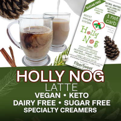 (CASE) Holly Nog  Latte - 24Pack (makes 2 cups ea.) 1 Net Carb  Dairy-Free Sugar-Free Holiday Spice Creamer ANTI-Viral -BOOST IMMUNE SYSTEM- Anti-inflammatory Antioxidant - Egg Nog Recipes VEGAN KETO