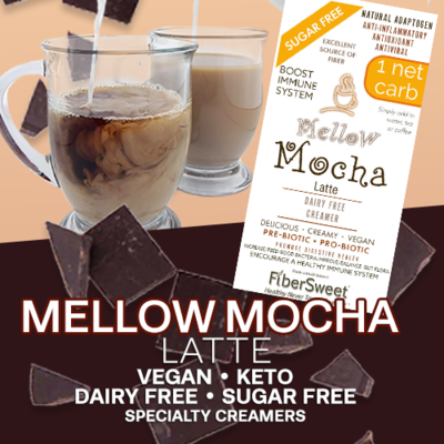 (CASE) Mellow Mocha Latte 12Pack (makes 2 cups ea.) 1 Net Carb Sugar-Free Dairy-Free Chocolate Creamer - ANTI-Viral -BOOST IMMUNE SYSTEM- Anti-inflammatory - Antioxidant - Smooth Creamy VEGAN KETO