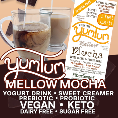 YUMTUM Mellow Mocha - Yogurt Drink / Sweet Creamer | Delicious Hot or Cold | 1 Net Carb | BOOST IMMUNE SYSTEM Anti-inflammatory AntiViral Antioxidant DairyFree SugarFree GFCF VEGAN KETO