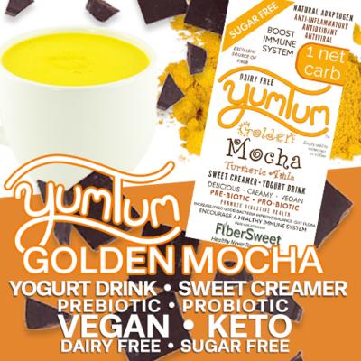 YUMTUM Golden Mocha Yogurt Drink / Sweet Creamer Turmeric Amla Cocoa add to water tea coffee | 1 NET CARB -Immune Support- Anti-inflammatory AntiViral Antioxidant DairyFree SugarFree GFCF VEGAN KETO