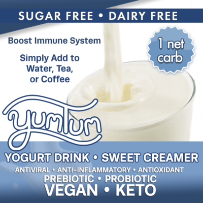 YUMTUM Yogurt Drink - SWEET Creamer Add to Water Tea Coffee Dairy Sub/Sweetener 1 NET CARB (makes 4-8 cups) AntiViral -Immune Support- Anti-inflammatory Antioxidant SugarFree DairyFree GFCF VEGAN KETO