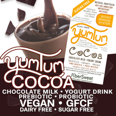 YUMTUM CoCoa - Chocolate Milk / Yogurt Drink | Delicious Hot or Cold -Immune Support- Anti-inflammatory Antioxidant AntiViral DairyFree SugarFree GFCF VEGAN