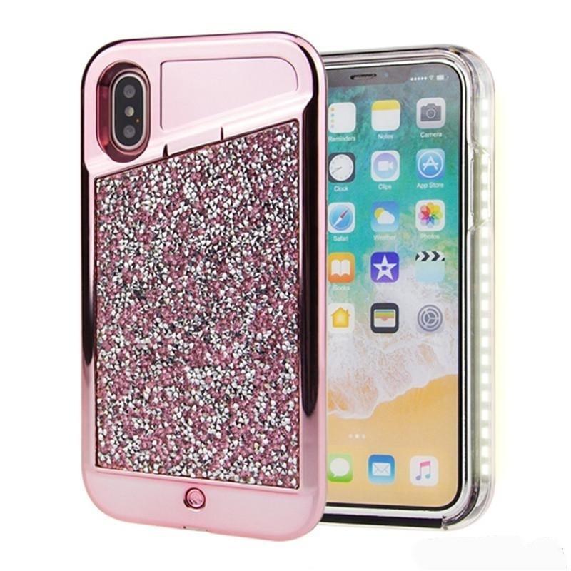 Rhinestone Selfie Case For iPhone 6/7/8 (Hot Pink)