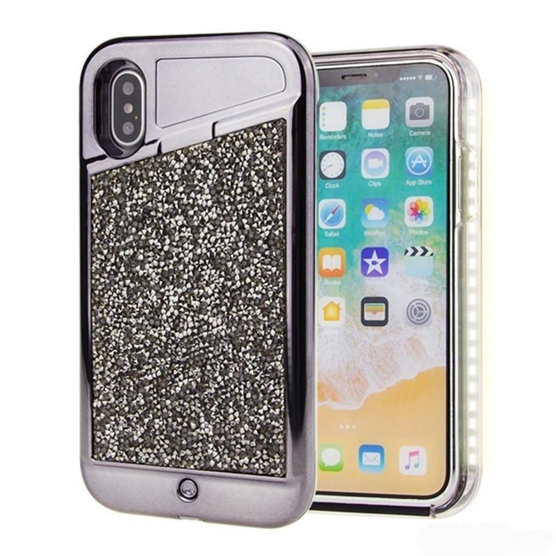 Rhinestone Selfie Case For iPhone 6/7/8 (Black)