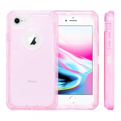 Heavy Duty Robot Case for iPhone 6/7/8 (Clear Pink)