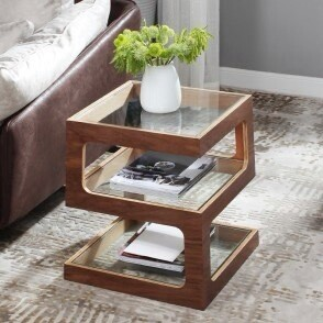 Modern Tempered Glass Walnut Veneer Side/End Table