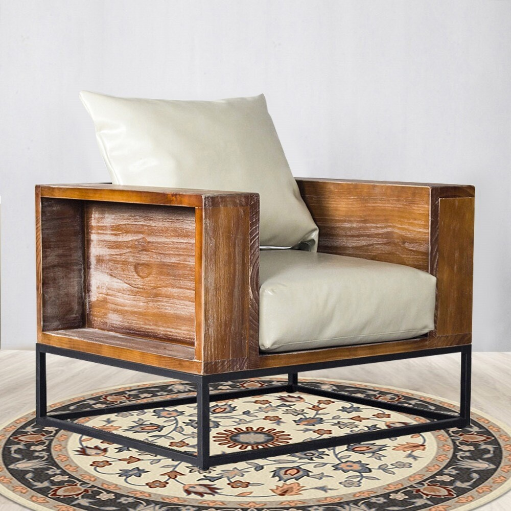 Rustic Lodge Modern Brown Leather Arm Chair