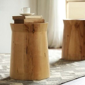 Pine Wood Tree Stump End Table  with Tray Top in Beige