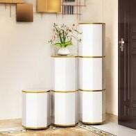 Modern Round Swivel Shoes Storage Cabinet