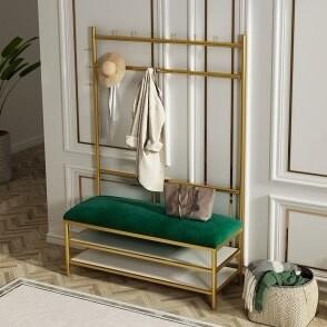 Green Velvet Upholstered Storage Bench & Clothing Rack