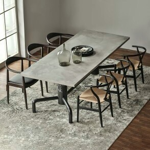 Industrial Gray Concrete Dining  Table Top w/Solid Wood Metal Base