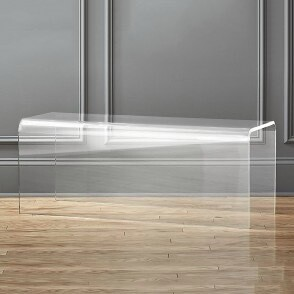 Modern Acrylic Bench with Curved Sides